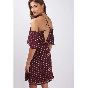 Topshop Cold Shoulder Burgundy Dot Ruffle Dress